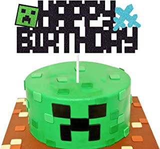 Pixel Cake Topper Video Game Themed Happy Birthday Cake Decoration Party Supplies