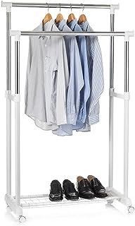 IDIMEX Portant à vêtements Grosso penderie Double sur roulettes vestiaire Mobile avec 2 Barres de Hauteur réglable et Une ...