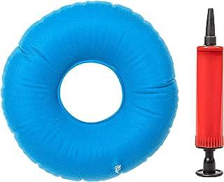 Keyzone - Cojín de asiento redondo hinchable suave con bomba para dolor de coxis, color azul
