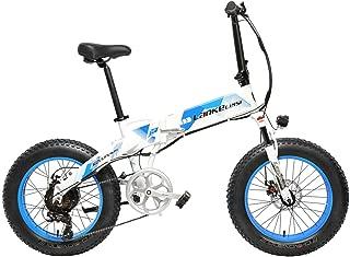 X2000 20インチファットバイク折りたたみ自転車7スピードスノーバイク48V 12.8Ah 500Wモーターアルミ合金フレーム5 PASマウンテンバイク駆動補助機付自転車 (白青, 12.8Ah + 1予備バッテリ)