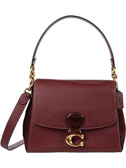 코치 메이 숄더백 와인 COACH Mixed Leather with Snake Trim May Shoulder Bag,B4/WINE