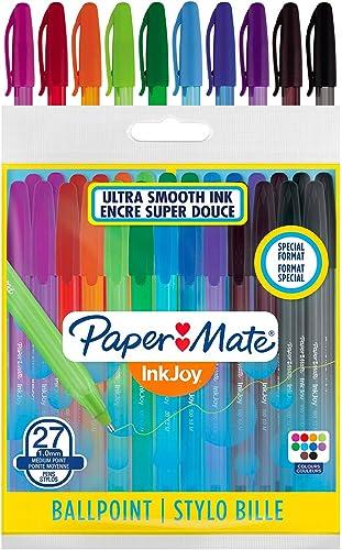 Paper Mate InkJoy 100ST stylos à bille, pointe moyenne (1, 0mm), assortiment de couleurs joyeuses, lot de 27