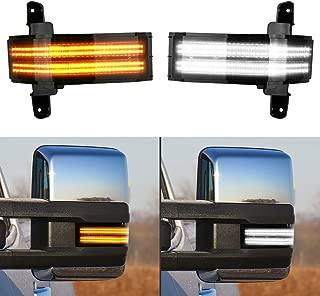Gempro 2Pcs Switchback White & Dynamic Amber LED Side Mirror Marker Light Turn Signal Direction Indicator lamp For Chevrolet Silverado 1500 2500HD 3500HD GMC Sierra 1500 2500HD 3500HD,Smoke Lens