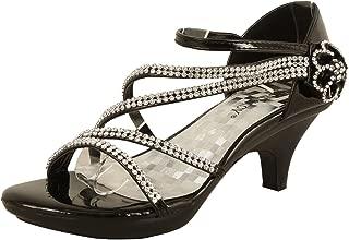 JJF Shoes -62 Womens Strappy Rhinestone Dress Sandal Low Heel Shoes