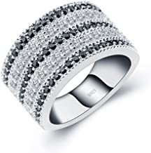 A ANGG Black And White Cubic Zirconia Simulated Diamond Vintage 925 Sterling Silver Ring