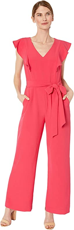 Petite Stretch Crepe Ruffle Shoulder Jumpsuit