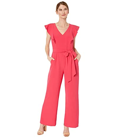 Tahari by ASL Petite Stretch Crepe Ruffle Shoulder Jumpsuit (Raspberry) Women
