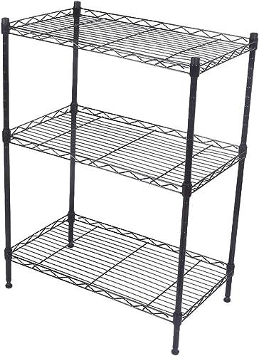 discount Mallofusa 3 Tier Shelf Rack, Heavy Duty Wire Shelving Units Kitchen Home Garage sale Storage, new arrival Black outlet online sale