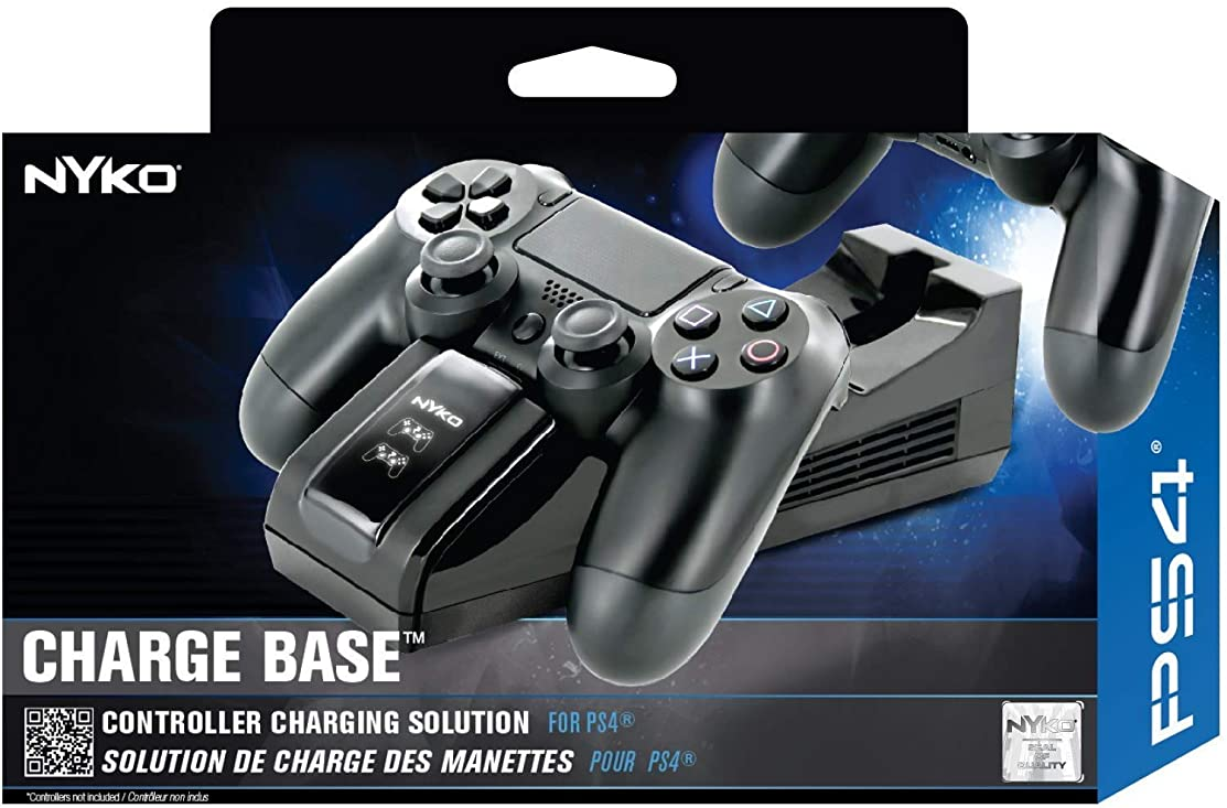 Nyko Charge Base - PlayStation 4 with a Modern and Simple Drop and Charge Design, Dual Patented Dongle Charging Port, Includes a USB and Wall Mount for Super Fast Charging of PS4, PS4 Pro and PS4 Slim Controllers