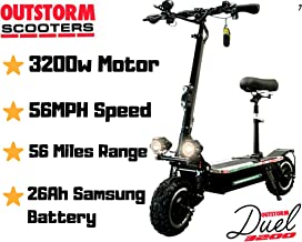 OUTSTORM 56MPH Ultra High Speed Electric Scooter for Adults Foldable, 3200W Peak Power Dual Motor  60V / 20-35Ah Battery   43-67 Miles Distance   Climbing Grade 30°