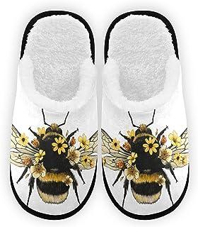 Honey Bee Flower Slippers, Soft Memory Foam Non-Slip Indoor House Slippers Home Shoes For Bedroom Hotel Travel Spa