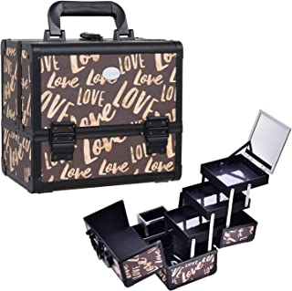 Joligrace Makeup Train Case Cosmetic Organizer Box Lockable with 3 Trays and a Brush Holder with Mirror Vintage Brown Love Pattern