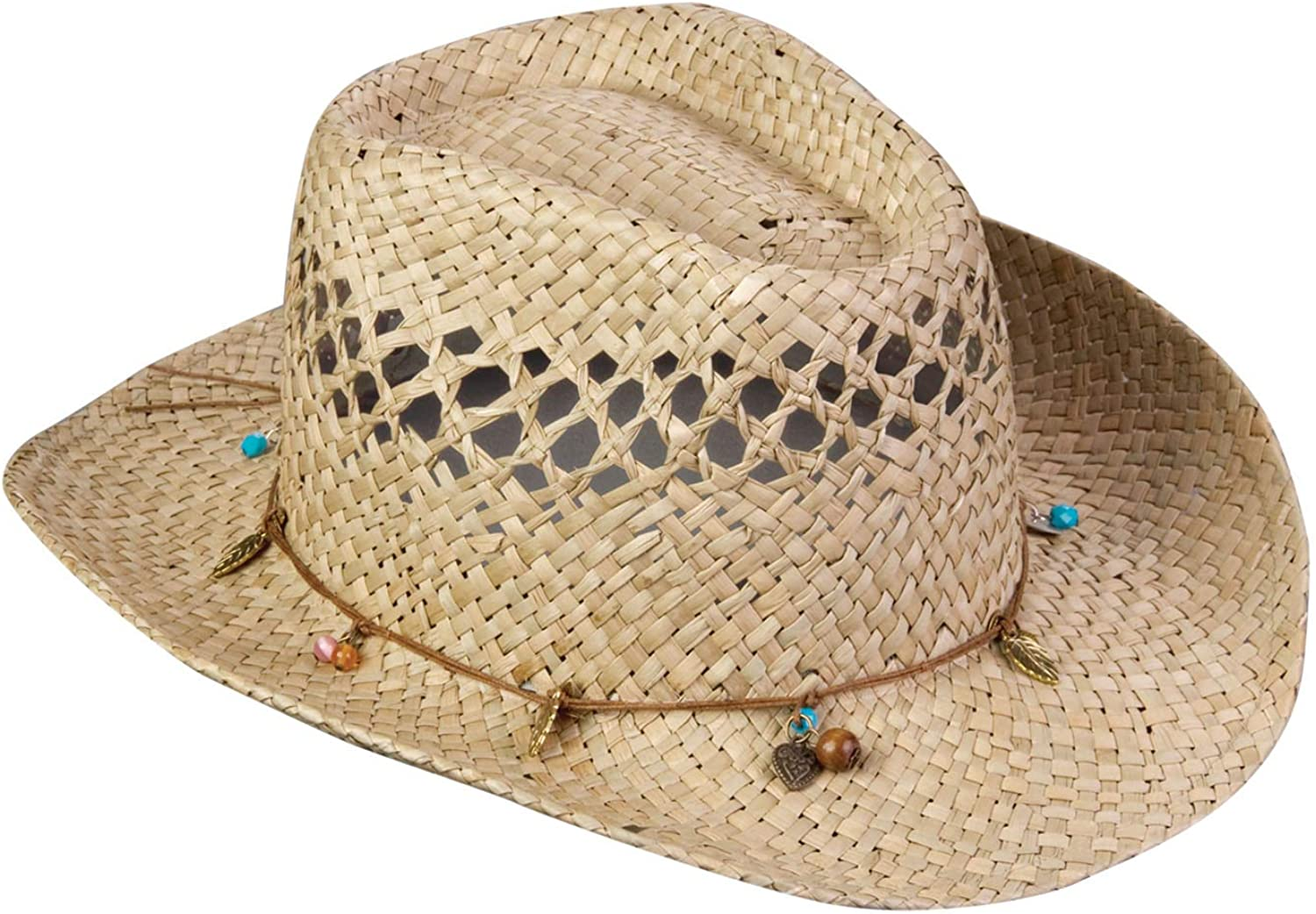 Broner Girls Straw Western Hat with Assorted Charms and Beads. 4-7 Years.
