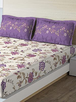 DDECOR Live beautiful Ddecor 140 TC Cotton One Double Bedsheet with 2 Pillow Covers - King Size, Contemporary, Purple