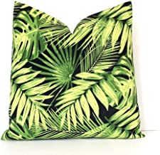 Green and Black Tropical Designer Pillow Cover Accent Cushion Summer Leaves Beverly Hills Botanical Palms Frond Palm Modern Bright neon