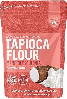 Tapioca Flour Starch, 1 Lb, Gluten-free & non-GMO (Thickener for Food) Fine White Powder, Vegetarian, kosher, Paleo Friendly