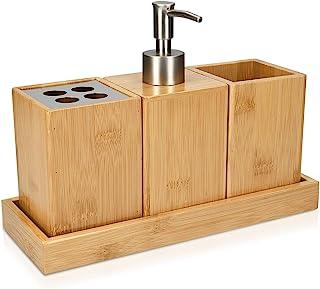 Navaris Set para el baño de bambú - Juego 4 Accesorios para Lavabo - Kit de 4 Piezas - 1x dispensador de jabón 1x Porta Cepillo 1x Vaso 1x Bandeja