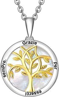 ENGSWA Collana Personalizzabile Donna Incisione Argento 925 Ciondolo Albero Genealogico della Vita con Madreperla Regalo M...