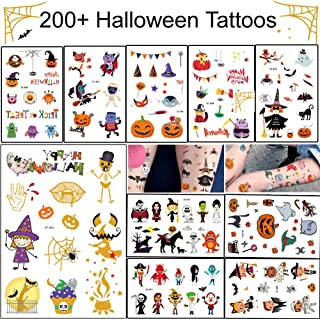 Halloween Temporary Tattoo - 20 Sheets 200+ Cute Designs Halloween Tattoos Stickers for Kids