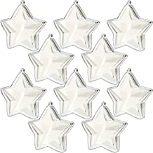 KEIVA Transparent Clear Plastic Acrylic Fill-Able Snap-On Star Shape Ball Holiday Style Ornament for Event Decorations, Hanging Arts & Crafts Accessories, Party Favor Holders,Set of 10 (Star 75mm)