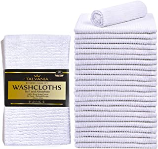 """TALVANIA Washcloths Towels Wash Cloth Super Absorbent Ribbed Terry White Towel 100% Ring Spun Cotton Ideal for Body Scrub Long Lasting Multi-Purpose Gym Spa Home Kitchen Cleaning Towel 24 Pack 12""""X12"""""""