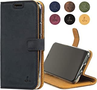 iPhone 11 Pro Leather Case, Luxury Genuine Leather Wallet with Viewing Stand and Card Slots, Flip Cover Gift Boxed and Handmade in Europe for Apple iPhone 11 Pro (Navy)