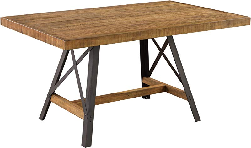 Joey 60 Dining Table In Gingersnap With Rustic Plank Top And Metal Base By Artum Hill