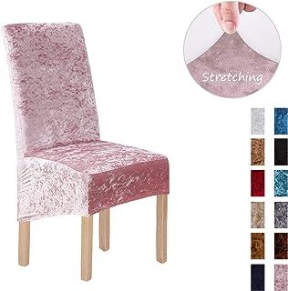 Terciopelo triturado 2/4/6 piezas XL Fundas para sillas para sillas de comedor, fundas para sillas para comedor Banquete de boda Decoración para fiestas (2 Pack(XL),Rosado-G)
