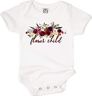 The Spunky Stork Flower Child Floral Organic Cotton Baby Girl Bodysuit