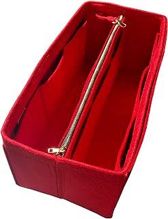 [Fits Neverfull Speedy] JennyKrafts Purse Insert (3mm Felt, Detachable Pouch w/Metal Gold Zip), Tote Bag Organizer Pockets