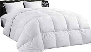 Lightweight Down Comforter (Twin), All-Season Medium Warmth, 100% Cotton Cover, Quilted Duvet with Corner Tabs, Soft Comfortable, White Duck Feather Down, Machine Washable, 68