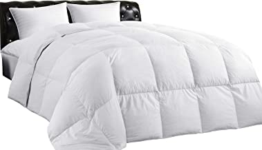 Lightweight Down Comforter (Twin), All-Season Medium Warmth, 100% Cotton Cover, Quilted Duvet with Corner Tabs, Soft Comfortable, White Duck Feather Down, Machine Washable, 68X90