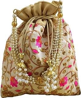 GiftPiper Embroidered Raw Silk Potli/Batua- Offwhite