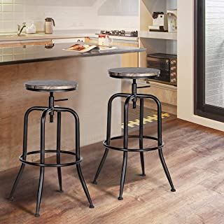 HOUSE IN BOX.COM 2X Taburete de Bar Silla Giratoria de 360 Grados Estilo Industrial Moderno Altura Ajustable Taburetes Acero Madera MDF con Patas Curvadas para Bar Cocina (Nuez)