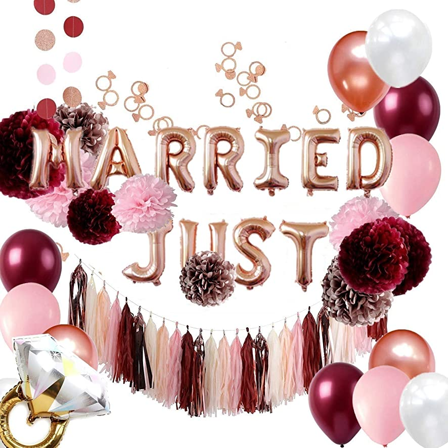 Burgundy and Rose Gold Bachelorette Party Decorations Bridal Shower Kit - Tissue Pom Poms Just Married Balloons Banner Tassels Garland Ring Confettis - All in ONE