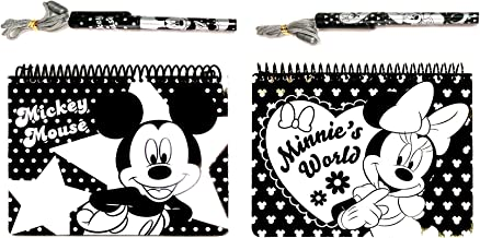 Mickey Mouse Large Spiral Autograph Books - 2 Books Set with 2 Necklace PENS (Mickey Minnie Silver)