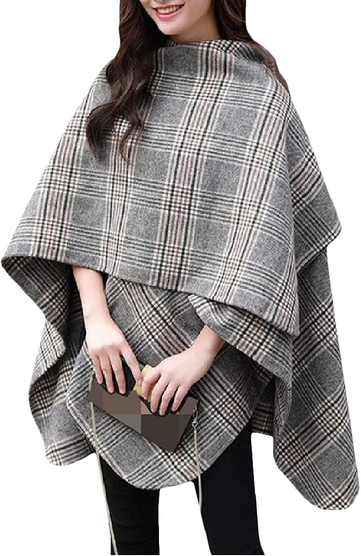 Lutratocro Women Cloak Fashion Coat Plaid Shawl Loose Trench Coat