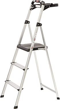 Rubbermaid RM-SLA3-T 3-Step Ultra Light Aluminum Step Stool with Project Tray, 225-Pound Capacity, Grey Finish