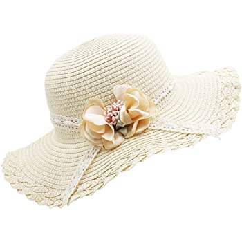 Summer Childrens Straw Hat Flower Visor Beach Hat,Toddler Kids Girl Multi-Colors Large Brim Flower Beach Sun Hats