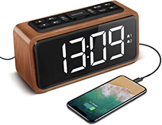 Radio Alarm Clock, Large LED Display Wood Digital FM Alarm Clock, Adjustable Brightness Dimmer and Snooze, Simple LED Cloc...