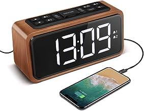 Radio Alarm Clock, Large LED Display Wood Digital FM Alarm Clock, Adjustable Brightness Dimmer and Snooze, Simple LED Cloc...