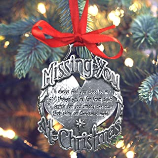 English Pewter Company Missing You at Chrsitmas Luxury Pewter Memorial Christmas Tree Decoration Pendant Baubles Ornament [CHR010]