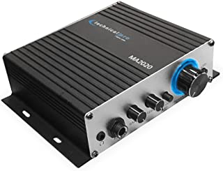 Technical Pro Class-T Stereo Mini Amplifier with Power Supply, Headphone Output & Microphone Input, Silver (MA2020)