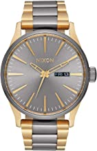 NIXON Sentry SS A379 - Gunmetal/Gold - 123M Water Resistant Men's Analog Classic Watch (42mm Watch Face, 23mm-20mm Stainless Steel Band)