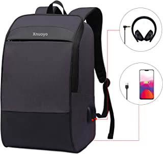Xnuoyo 17 3 inch Travel Laptop Backpack  Water Resistant Backpack Work Backpack School Bag with USB Charging Port  Earphone Port and Reflective Strips for Travel Business College Men  Women  Black