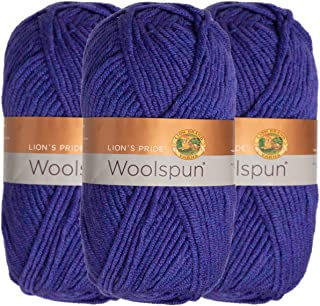 Lion Brand (3 Pack) Woolspun Acrylic & Wool Soft Violet Yarn for Knitting Crocheting Bulky #5