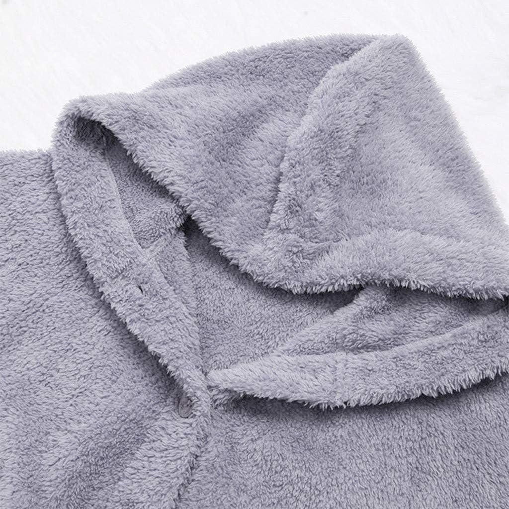 Lulupi Oversized Teddy Hoodie Damen Plüschmantel mit Taschen, Fleece Plüschjacke Herbst Einfarbige Pullover Winter Kapuzenpullover Sweater Outwear Grau
