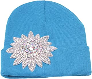 Womens Winter Cuffed Beanie w/Jeweled Floral Crest