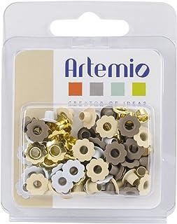 Artemio Fleur et Rond White Dream Set de 64 Œillets, Métal, Multicolore, 7 x 1,5 x 9 cm 11006012