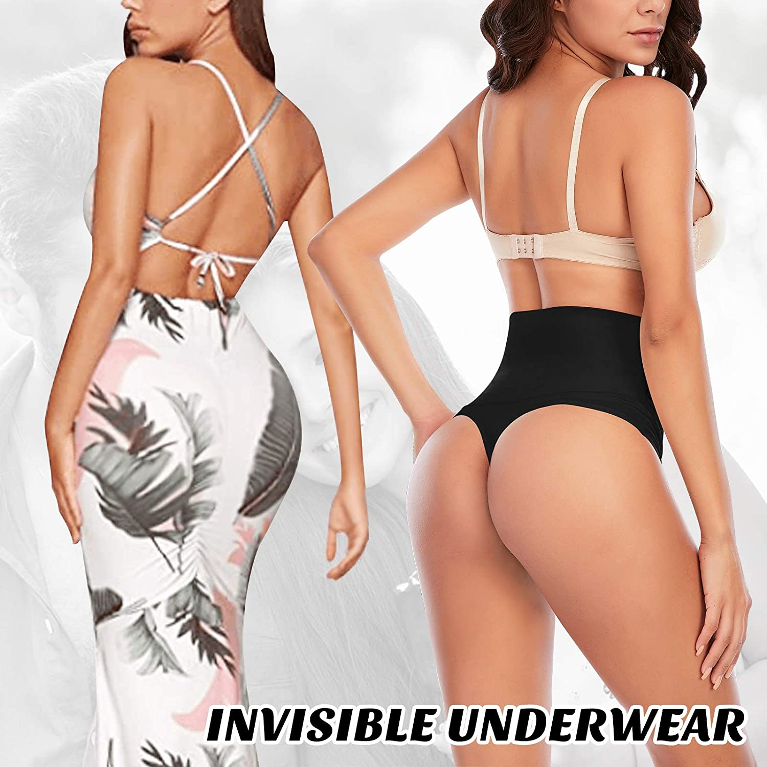 Thong Shapewear for Women Tummy Control High Waisted Thongs Underwear Seamless Slimming Body Shaper Panty